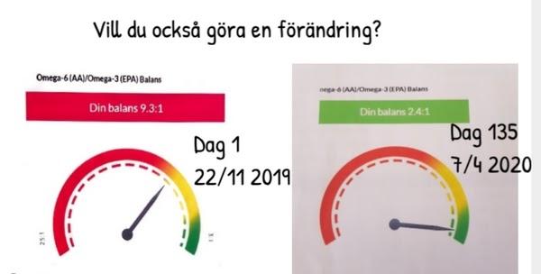 Zinzino testresultat jämförelse efter 135 dagar 80% förbättring